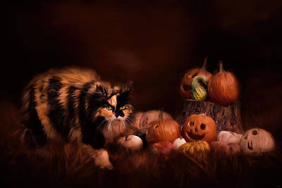 With Texture Painting - Halloween Calico Cat Art by Jai Johnson