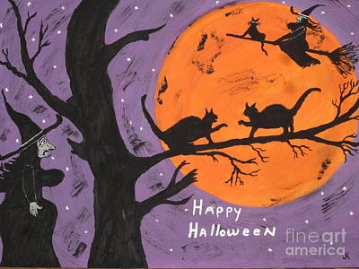 Witch Cat Painting - Halloween Cat Fight by Jeffrey Koss