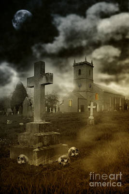 Grave Photograph - Halloween Churchyard by Amanda And Christopher Elwell