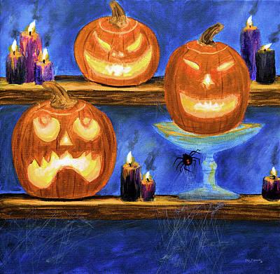 Haunted House Painting - Halloween Display by Ken Figurski