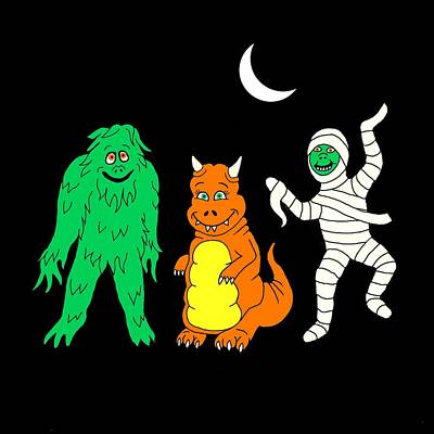 Spooky Painting - Halloween Monsters by Linda Mears