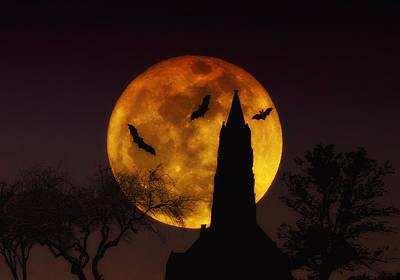 Bat Digital Art - Halloween Moon by Bill Cannon