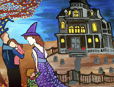 Haunted House Painting - Halloween Night by Felicia Clark