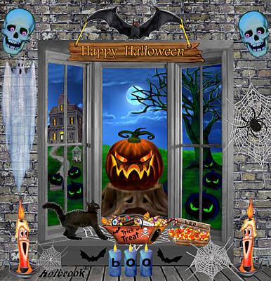 Haunted Mansion Digital Art - Halloween Night Stalker by Glenn Holbrook