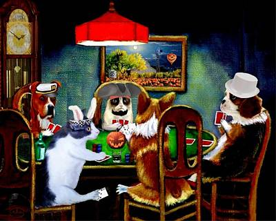 Mad Hatter Painting - Halloween Poker by Ron Chambers