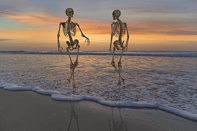 Skeleton Digital Art - Halloween Stroll by Betsy C Knapp