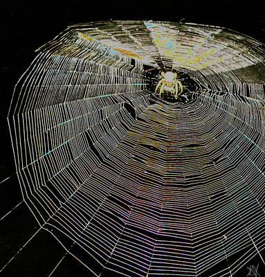 Fine Thread Photograph - Halloween Web by Debra     Vatalaro