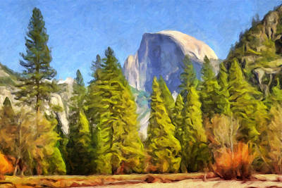 Halv Dome Yosemite Print by Impressionist Art