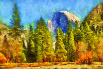 Impressionistic Landscape Painting - Halve Dome Impression by Lutz Baar