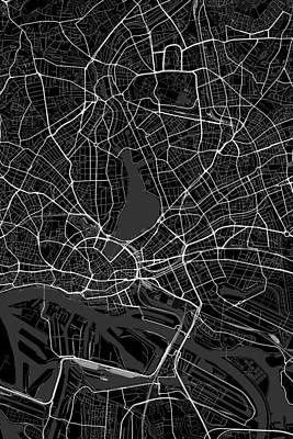 Hamburg Digital Art - Hamburg Germany Dark Map by Jurq Studio