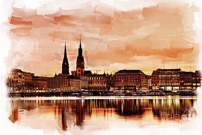 Architectural Painting - Hamburg Germany Skyline 02 by Gull G