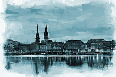 America Painting - Hamburg Germany Skyline  by Gull G