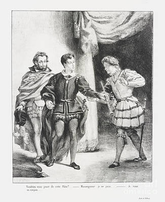Hamlet Et Guildenstern Print by Eugene Delacroix