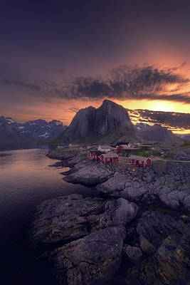 Hamnoey Sunset Print by Tor-Ivar Naess