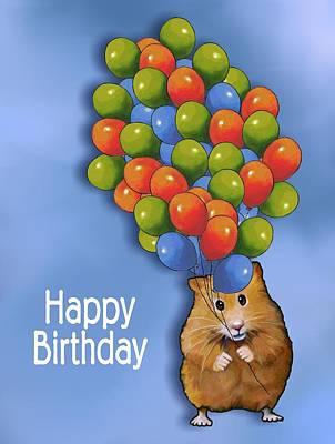 Mixed Media - Hamster With Balloons Happy Birthday by Joyce Geleynse