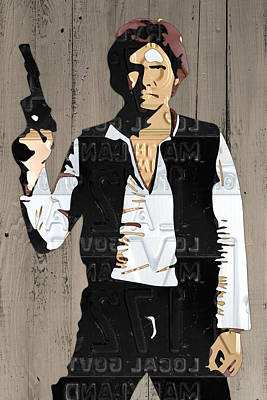 Han Solo Vintage Recycled Metal License Plate Art Portrait On Barn Wood Print by Design Turnpike
