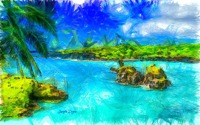 Bay Digital Art - Hana Maui - Da by Leonardo Digenio