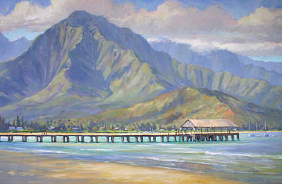 Plein Air Painting - Hanalei Pier by Jenifer Prince