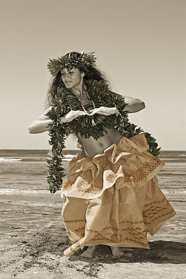 Hula Girl Art Photograph - Hand Colored Hula by Himani - Printscapes