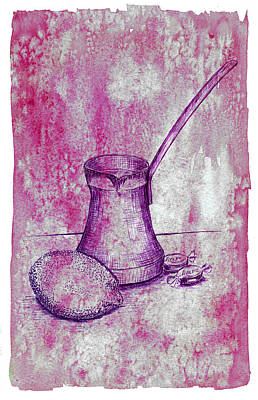 Hand Drawn Turkish Coffee Pot, Lemon And Candies Print by Victoria Yurkova