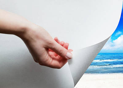 Wrap Photograph - Hand Pulling A Paper Corner To Uncover Sunny Beach by Michal Bednarek
