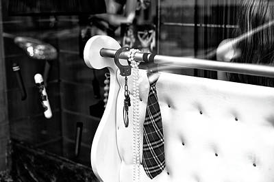 Toy Shop Photograph - Handcuff And A Tie Mono by John Rizzuto