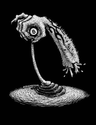 Scratchboard Drawing - Handful O by Bomonster