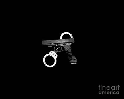 Black Top Digital Art - Handgun And Handcuffs .png by Al Powell Photography USA