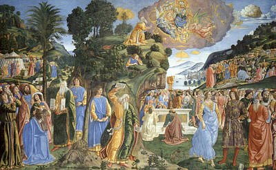 Biblical Painting - Handing Over Of The Tablets Of The Law by Cosimo Rosselli