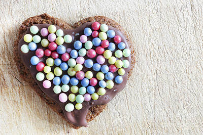 Food Photograph - Handmade Gingerbread Heart Decorated With Colorful Sugar Pearls by Michal Bednarek