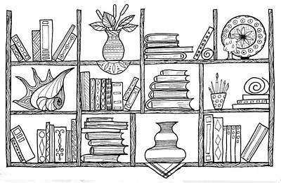 Handmade Graphic Picture Bookshelf Print by Julia Faranchuk