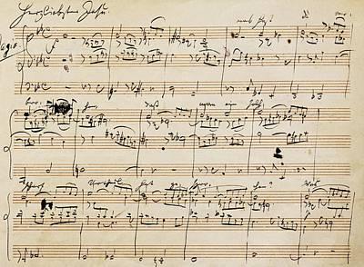Handwritten Score For Herzliebster Jesu, Chorale Prelude Number 2 Print by Johannes Brahms