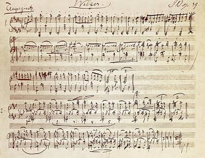 Musicians Drawing - Handwritten Score For Waltz For Piano, Opus 39 by Johannes Brahms