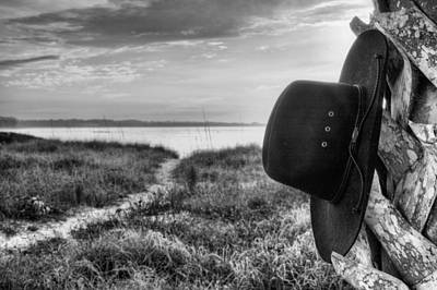 Cowboy Hat Photograph - Hang Your Hat In Pensacola Bw by JC Findley