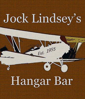 Bi Plane Digital Art - Hangar Bar Art Sign Vintage by David Lee Thompson