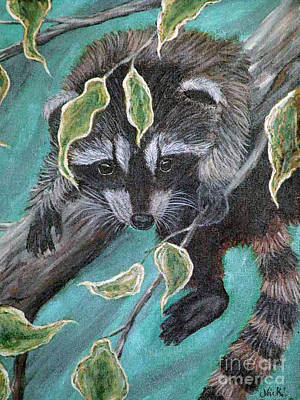 Raccoon Painting - Hanging Around by Nick Gustafson