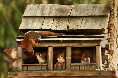 Squirrel Mixed Media - Hanging Around The House by Lori Deiter