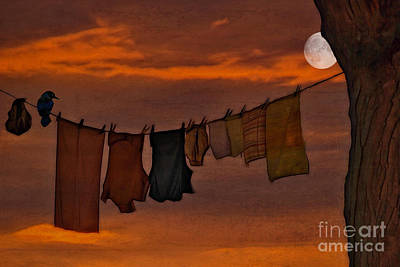 Clothes Pins Photograph - Hanging In The Moonlight by Tom York Images