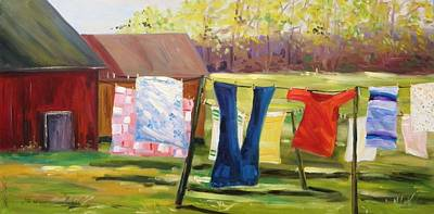 Laundry Painting - Hanging Out Back by John Williams