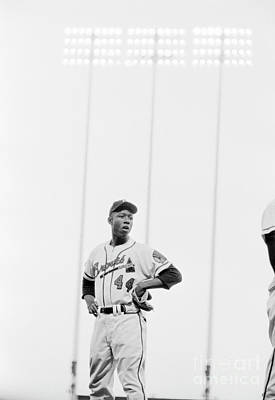 Sports Photograph - Hank Aaron On The Field, 1958 by The Phillip Harrington Collection