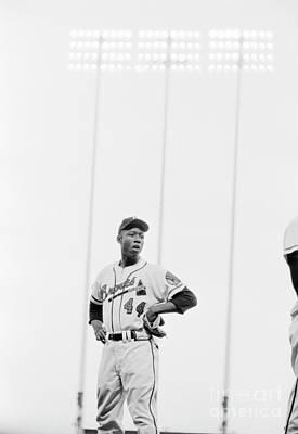 Baseball Photograph - Hank Aaron On The Field, 1958 by The Harrington Collection