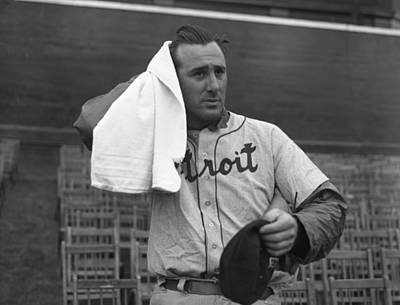 Hank Greenberg Cooling Off After Workout Print by OleTime Photos