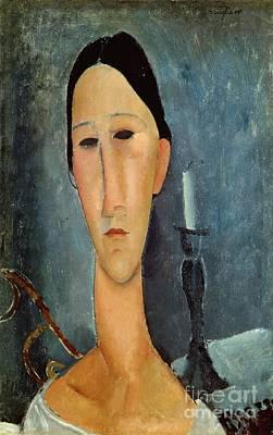 Elongated Painting - Hanka Zborowska With A Candlestick by Amedeo Modigliani