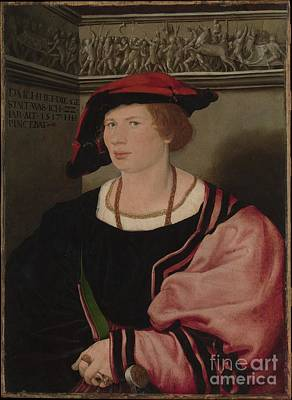 Young Man Painting - Hans Holbein The Younger  by Celestial Images