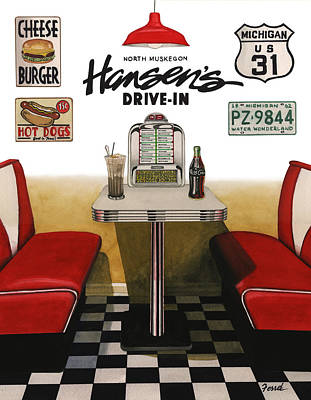 Drive-ins Painting - Hansen's Drive-in by Ferrel Cordle