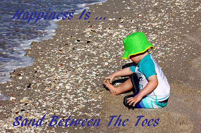 Happiness Is...sand Between The Toes Print by Debbie Oppermann