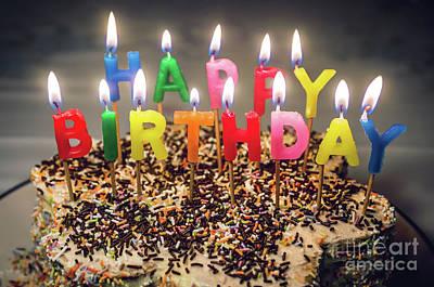 Happy Birthday Candles Print by Carlos Caetano