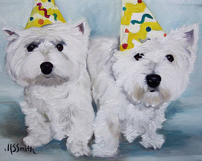 Westie Painting - Happy Birthday by Mary Sparrow