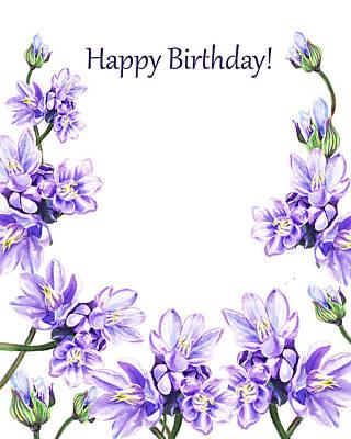 Happy Birthday Purple Flowers Print by Irina Sztukowski