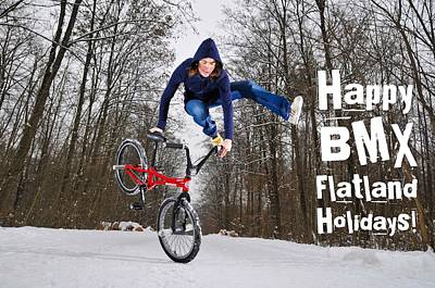 Winter Photograph - Happy Bmx Flatland Holidays Greeting Card by Matthias Hauser